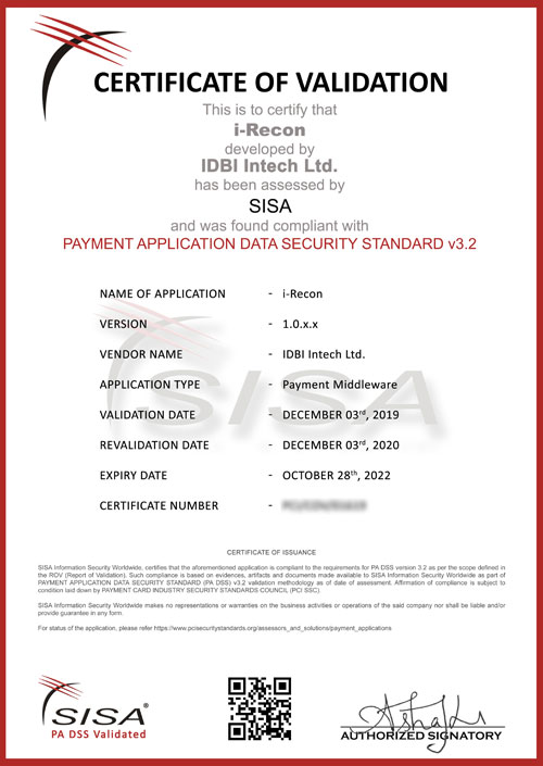 PA DSS Certification for i-Recon